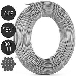 T316 1/8 1x19 Stainless Steel Cable Wire Rope 100FT Cable Ra