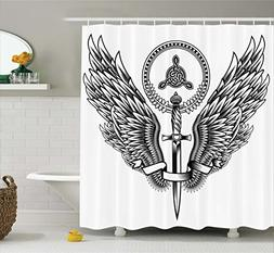 Tattoo Decor Shower Curtain by Ambesonne, Skull of a Bull wi