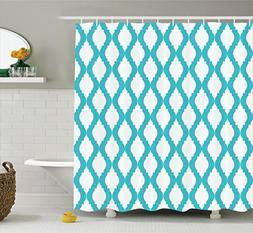 Teal Shower Curtain Modern Decor by Ambesonne, Abstract Tang