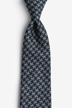 Tempe Modern Pattern Navy Blue Charcoal Cotton Extra Long Ti