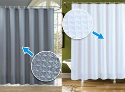 Thicker Waffle Fabric Shower Curtain Extra Long, Grey / Whit