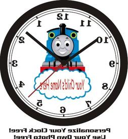 THOMAS THE TRAIN WALL CLOCK-ADD CHILD'S NAME FREE!