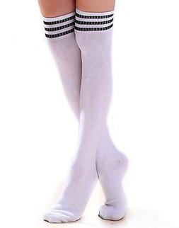 HDE Women Three Stripe Over Knee High Socks Extra Long Athle