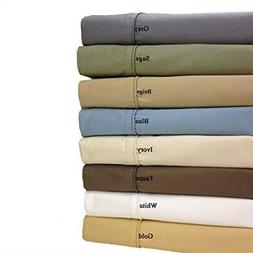 Twin-Extra-Long White Cotton-Blend Wrinkle-Free Sheets 650-T