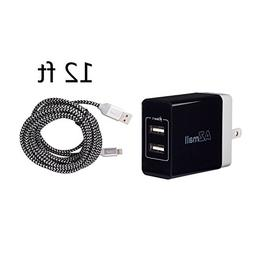 Two Ports USB 2.0 Wall Charger With Longest 12 Feet iPhone i