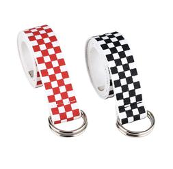 Unisex Checkered Extra Long Belt Canvas Checkerboad Fabric D