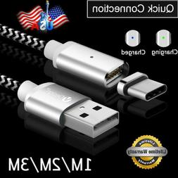 US 1M-3M LED Magnetic Type C Fast Connector USB-C Charger Tr