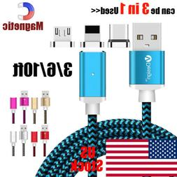 US Strong Magnetic Type-C Micro 3 in1 Fast Charging Cable Ch