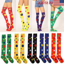 US Womens Dots Extra Long Boot Socks Over Knee Thigh High Sc