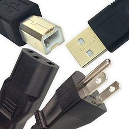 15 Feet USB 2.0 Cable and 10 Feet Power Cord for HP PSC 1410