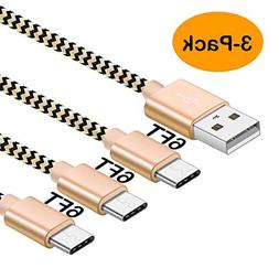 OTISA USB Type C Cable, 3Pack 6ft Long Android USB C Charger