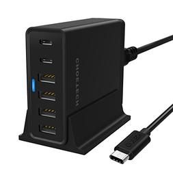 USB Type C Charger, CHOETECH 55W 6-Port USB Charger with 2 U