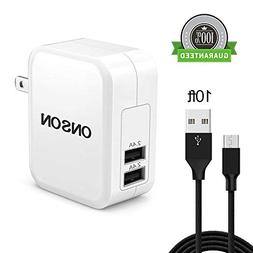 USB Charger,Foshowboss 10FT Long Micro USB Cable Android Cha