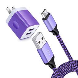 USB Charging Block, 6Ft Micro USB Charging Cable Cord Braide