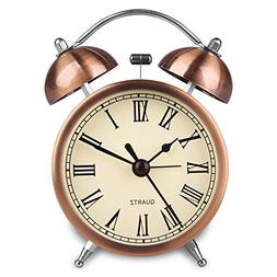 Hersent Retro Twin Bell Alarm Clock Vintage Non Ticking Beds