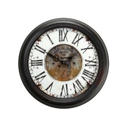 "Adeco Vintage-Inspired Brown Round Wall Hanging Clock ""Hotel"