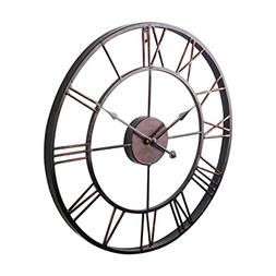 SODIAL Extra Large Vintage Style Statement Metal Wall Clock