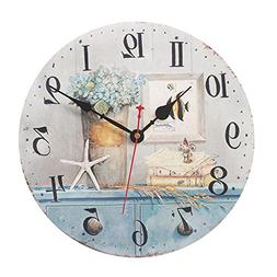 Kaimao 12 Inches Vintage Wooden Wall Clock Chic Shabby and N
