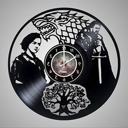 Vinyl Record Wall Clock for Fantasy Drama TV Series Fans- Ge