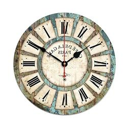 Wall Clock, Yamix Vintage Country Style Roman Numerals Woode
