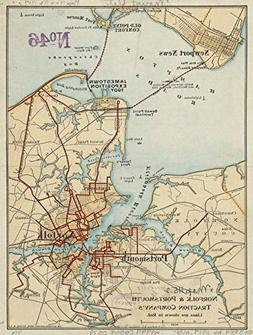 Wall Art Print entitled Vintage Map Of Norfolk And Portsmout
