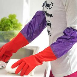 WASHING UP RUBBER LATEX GLOVES EXTRA LONG CUFF SLEEVE KITCHE