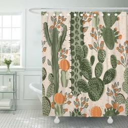 Waterproof Polyester Fabric Shower Curtain Cactus Design w/