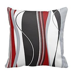 Wavy Vertical Stripes Red Black White and Grey Pillow Cover