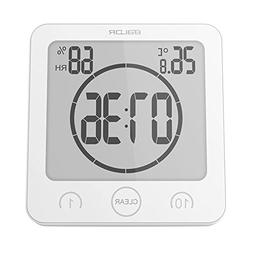 Digital Shower Clock with Timer Temperature Humidity Monitor