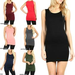 Womens Extra Long Tank Top Seamless Basic Tunic Stretch Body