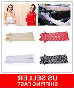 Women Sunscreen Anti UV Extra Long Lace Arm Warmers Finger G