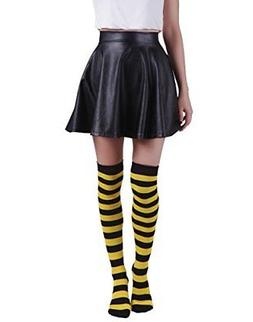 Women's Extra Long Striped Socks Over Knee High Opaque Sto