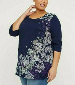 Womens Plus Size 4X 30/32 COTTON 3/4 Sleeves Extra Long Tuni