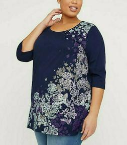 Womens Plus Size 5X 34/36 COTTON 3/4 Sleeves Extra Long Tuni