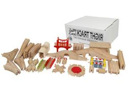 Wooden Train Track Master Builder Set: 50 Unique Pieces