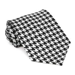 XL Black and White Houndstooth Extra Long Necktie