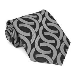 XL Black Kay Link Pattern Extra Long Necktie