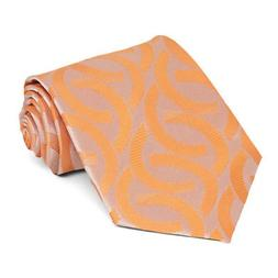 XL Bright Tangerine Kay Link Pattern Extra Long Necktie