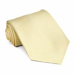 XL Canary Yellow Kimberly Chevron Stripe Extra Long Necktie