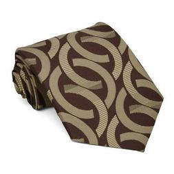 XL Chocolate Brown Kay Link Pattern Extra Long Necktie, 63""