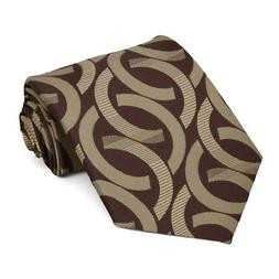 XL Chocolate Brown Kay Link Pattern Extra Long Necktie, 67""