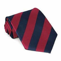 XL Crimson Red and Navy Blue Extra Long Striped Tie