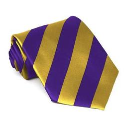 XL Dark Purple and Gold Extra Long Striped Tie