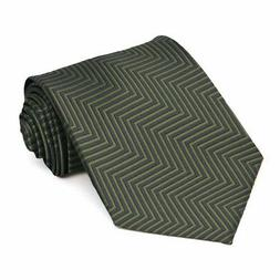 XL Dried Sage Kimberly Chevron Stripe Extra Long Necktie