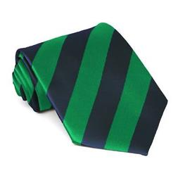 XL Kelly Green and Navy Blue Extra Long Striped Tie