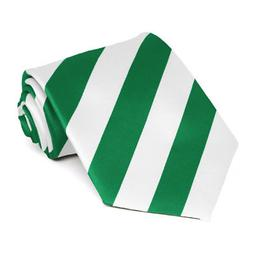 XL Kelly Green and White Extra Long Striped Tie