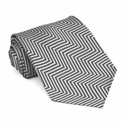 XL Pewter Kimberly Chevron Stripe Extra Long Necktie