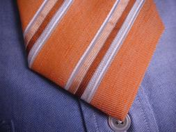 BROOKS BROTHERS XL Tie Extra Long Silk Linen Orange White St