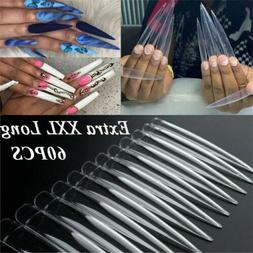 XXL Extra Long Stiletto False Nail Tips Half Cover Nails Fak