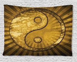 Yin Yang Tapestry Gold Decor by Ambesonne, Metallic Effect I